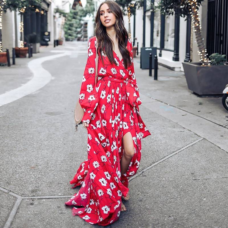 7e3640d9bc Bohemian Floral V-Neck Red Maxi Dress | Women's Fashion Clothing