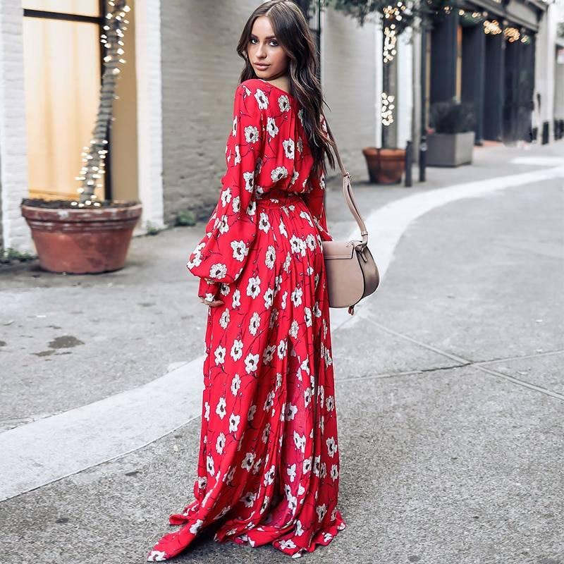 482b00c8f06af Bohemian Floral V-Neck Red Maxi Dress