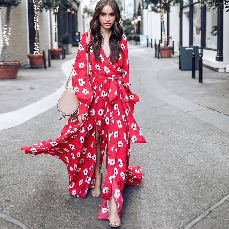 421c842fd036 Bohemian Floral V-Neck Red Maxi Dress | Women's Fashion Clothing