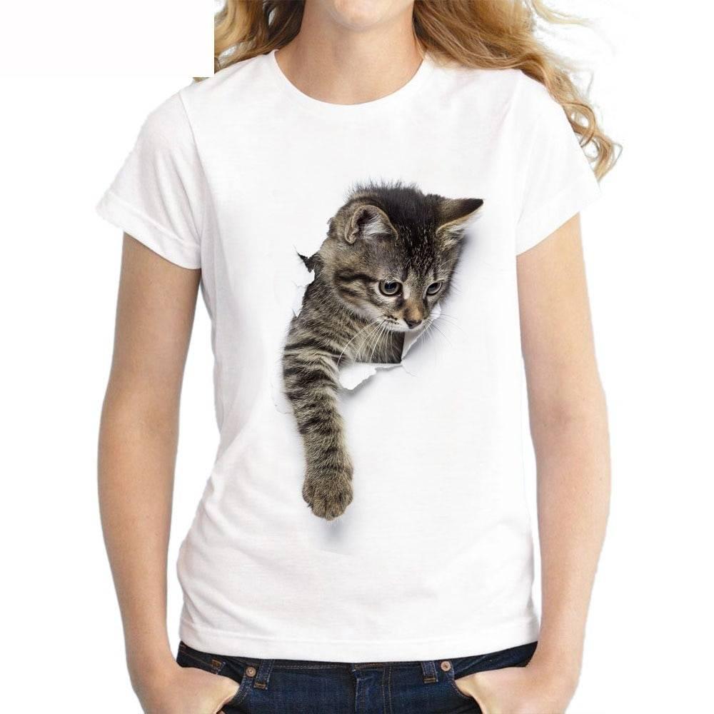 5cd663b7f541 Charmed 3D Cat Print Women's T-Shirt   Women's Fashion Clothing
